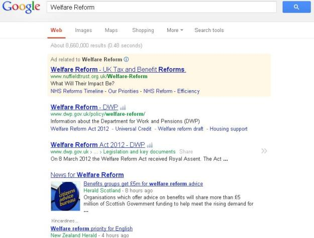 A search for Welfare Reform on google