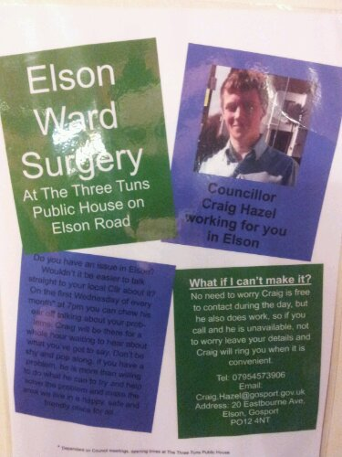 Councillor Hazel's ward surgery poster