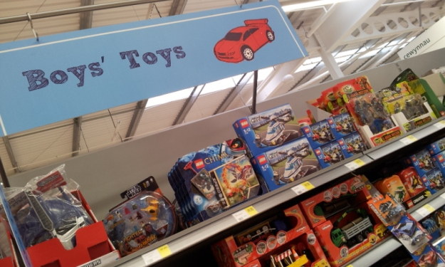 The 'boys' toys' section in Cwmbran Morrisons